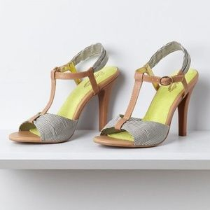 Anthro SEYCHELLES Striped Marina T-Strap Heels 6.5